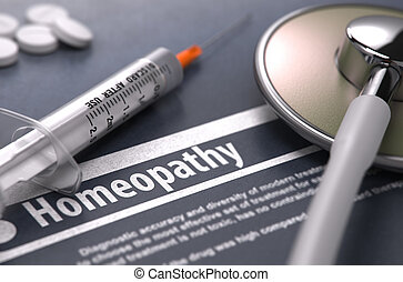 Homeopathy Medical Concept on Grey Background - Homeopathy -...
