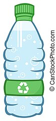 Water Plastic Bottle Cartoon Illustration With Recycled Sign