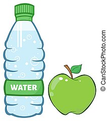 Water Plastic Bottle And Apple - Water Plastic Bottle And...