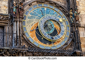 prague astronomical clock - the astronomical clock on the...