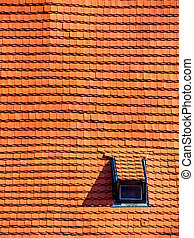 tiled roof - roof with old tiles and gaupenfenster