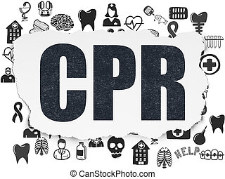 Healthcare concept: CPR on Torn Paper background -...