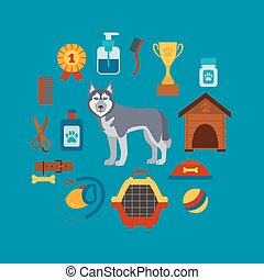 Pet grooming concept with dog care elements Pet grooming:...