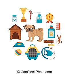 Dog training concept with pet care elements Dog training:...