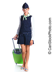 Charming Girl Stewardess Dressed In Blue Uniform On White...