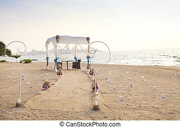 Romantic dinner setup on the beach - Romantic dinner setup...