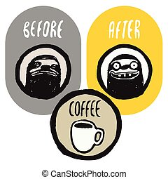 Coffee funny hand drawn poster - Before and after the coffee...