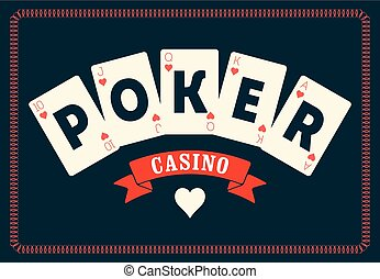 Casino vintage style poster. A royal flush playing cards...