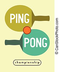 Ping Pong vintage poster. - Ping Pong typographical vintage...