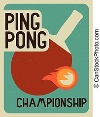 Ping Pong vintage poster - Ping Pong typographical vintage...