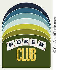 Poker club vintage style poster Retro vector illustration