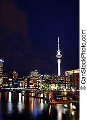 Auckland City, New Zealand at Night - Auckland City and...