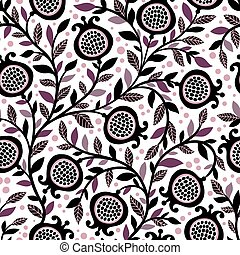 Seamless floral pattern with decorative pomegranate fruits...