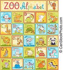Vector alphabet with animals.