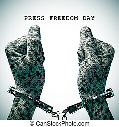 handcuffed man and text press freedom day - the text press...