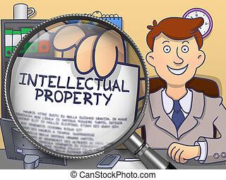 Intellectual Property through Lens. Doodle Concept. -...
