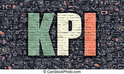 KPI Concept Multicolor on Dark Brickwall - KPI - Key...