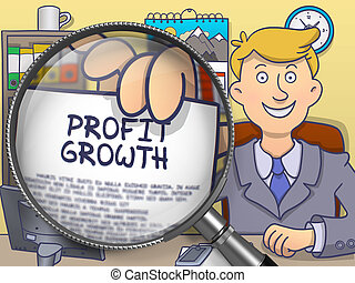 Profit Growth through Magnifying Glass. Doodle Style.