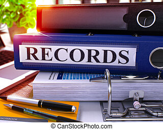 Blue Office Folder with Inscription Records. - Blue Office...