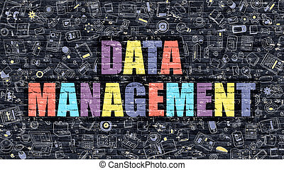 Multicolor Data Management on Dark Brickwall Doodle Style -...