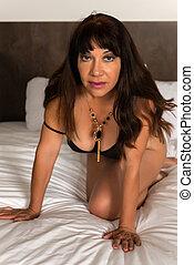 Mature brunette in a bodysuit - Pretty mature brunette in a...