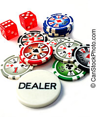 Poker Chips and Dice - Poker Chips, Dice and Dealer Chip on...