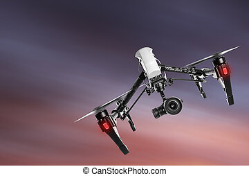 Drone with high resolution camera flying. - Drone with high...