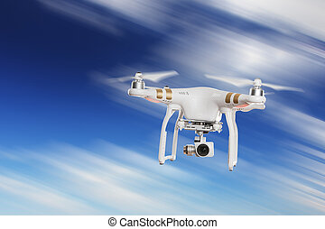 Drone with high resolution camera flying - Drone with high...