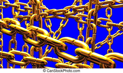Gold Chains Abstract On Blue Chroma Key.Loop able 3DCG...