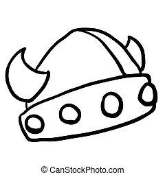 black and white viking helmet