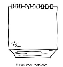 black and white freehand drawn cartoon note pad - simple...