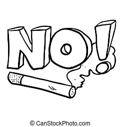 black and white cartoon no smoking cigarette sign
