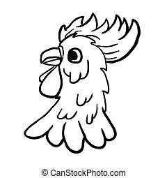 black and white rooster cartoon
