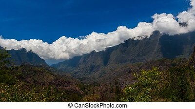 Time Lapse, Epic Clouds At Mountain Range, Cilaos, Reunion -...