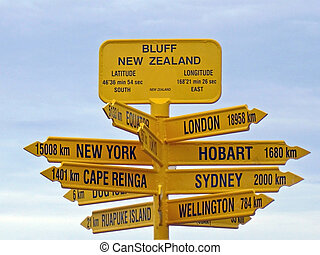 Bluff Signpost, New Zealand - The landmark Signpost at Bluff...