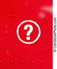 Question sign in metal - Question sign in red metal