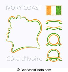 Colors of Cote dIvoire Ivory Coast - Outline map of Cote...