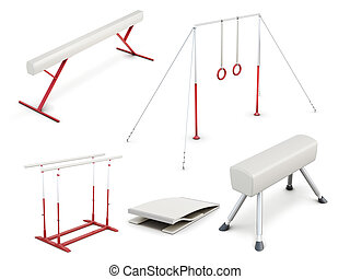 Set of gymnastic equipment isolated on white background. 3d...