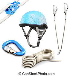 Rock climbing equipment on white background 3d rendering