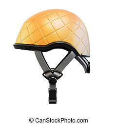 Orange helmet side view isolated on white background. 3d...