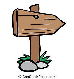 wooden sign cartoon
