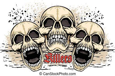 skull - Gothic coat of arms with skull, grunge,vintage...