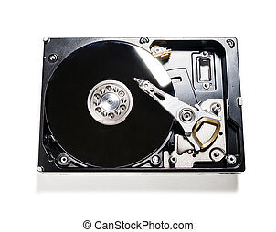 hard drive removed from the computer isolated on white...