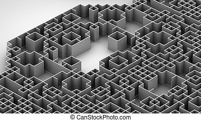 3D illustration of techno labyrinth surface