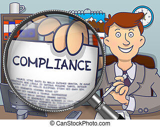 Compliance through Lens. Doodle Style. - Officeman Showing...