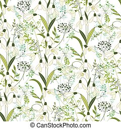 Seamless pattern with stylized cute white snowdrops Endless...