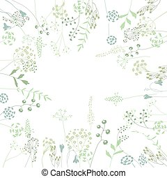 Floral abstract square template with stylized herbs and...
