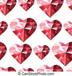 Seamless pattern with stylized diamond hearts