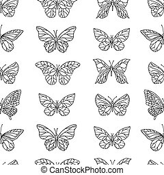 Seamless pattern with butterflies.  Black and white