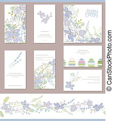Floral spring templates with cute blue flowers - Floral...